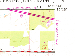 Reduced fragment of topographic map en--usgs--024k--069220--(1961)--N035-15-00_W093-00-00--N035-07-30_W092-52-30 in area of Lake Atkins; towns and cities Atkins