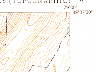 Reduced fragment of topographic map en--usgs--024k--069270--(1949)--N039-37-30_W079-07-30--N039-30-00_W079-00-00; towns and cities Barton