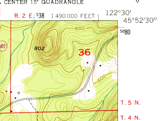 Reduced fragment of topographic map en--usgs--024k--069277--(1954)--N045-52-30_W122-37-30--N045-45-00_W122-30-00; towns and cities Battle Ground, Meadow Glade