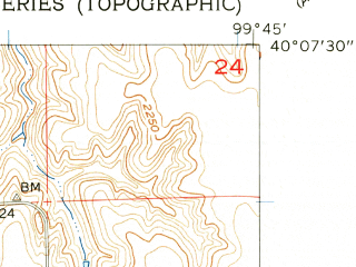 Reduced fragment of topographic map en--usgs--024k--069292--(1957)--N040-07-30_W099-52-30--N040-00-00_W099-45-00