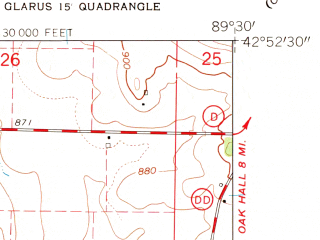 Reduced fragment of topographic map en--usgs--024k--069310--(1962)--N042-52-30_W089-37-30--N042-45-00_W089-30-00; towns and cities Belleville