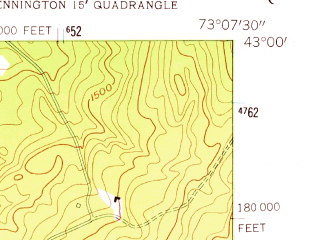 Reduced fragment of topographic map en--usgs--024k--069320--(1954)--N043-00-00_W073-15-00--N042-52-30_W073-07-30; towns and cities Bennington, North Bennington, Old Bennington