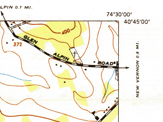 Reduced fragment of topographic map en--usgs--024k--069325--(1947)--N040-45-00_W074-37-30--N040-37-30_W074-30-00; towns and cities Bernardsville, Far Hills