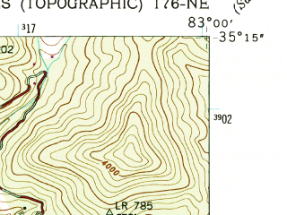 Reduced fragment of topographic map en--usgs--024k--069348--(1946)--N035-15-00_W083-07-30--N035-07-30_W083-00-00 in area of Bear Creek Reservoir