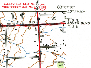 Reduced fragment of topographic map en--usgs--024k--069363--(1945)--N042-37-30_W083-15-00--N042-30-00_W083-07-30; towns and cities Royal Oak, Troy, Beverly Hills, Birmingham, Clawson