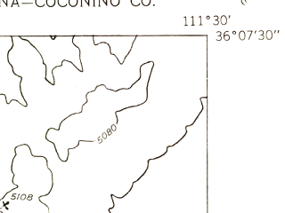 Reduced fragment of topographic map en--usgs--024k--069398--(1955)--N036-07-30_W111-37-30--N036-00-00_W111-30-00