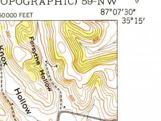 Reduced fragment of topographic map en--usgs--024k--069405--(1950)--N035-15-00_W087-15-00--N035-07-30_W087-07-30