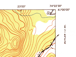 Reduced fragment of topographic map en--usgs--024k--069415--(1947)--N041-00-00_W074-30-00--N040-52-30_W074-22-30; towns and cities Kinnelon, Boonton, Lake Telemark, Mountain Lakes