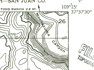 Reduced fragment of topographic map en--usgs--024k--069435--(1955)--N037-37-30_W109-22-30--N037-30-00_W109-15-00