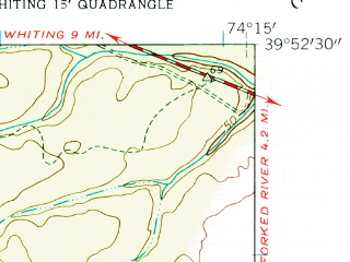 Reduced fragment of topographic map en--usgs--024k--069461--(1957)--N039-52-30_W074-22-30--N039-45-00_W074-15-00