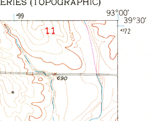 Reduced fragment of topographic map en--usgs--024k--069471--(1951)--N039-30-00_W093-07-30--N039-22-30_W093-00-00