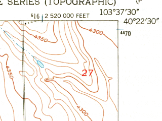 Reduced fragment of topographic map en--usgs--024k--069472--(1951)--N040-22-30_W103-45-00--N040-15-00_W103-37-30; towns and cities Brush