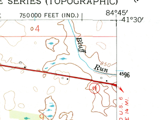 Reduced fragment of topographic map en--usgs--024k--069511--(1958)--N041-30-00_W084-52-30--N041-22-30_W084-45-00; towns and cities Butler