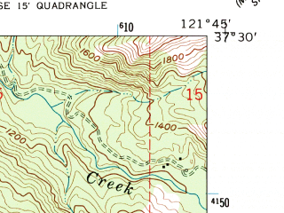 Reduced fragment of topographic map en--usgs--024k--069521--(1961)--N037-30-00_W121-52-30--N037-22-30_W121-45-00 in area of Calaveras Reservoir; towns and cities East Foothills