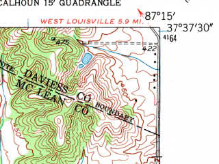 Reduced fragment of topographic map en--usgs--024k--069524--(1952)--N037-37-30_W087-22-30--N037-30-00_W087-15-00; towns and cities Calhoun