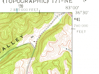 Reduced fragment of topographic map en--usgs--024k--069529--(1961)--N036-30-00_W083-07-30--N036-22-30_W083-00-00; towns and cities Rogersville