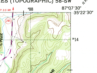 Reduced fragment of topographic map en--usgs--024k--069534--(1951)--N035-22-30_W087-15-00--N035-15-00_W087-07-30