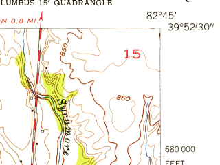 Reduced fragment of topographic map en--usgs--024k--069537--(1955)--N039-52-30_W082-52-30--N039-45-00_W082-45-00; towns and cities Canal Winchester, Lithopolis