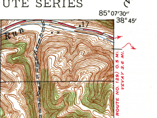 Reduced fragment of topographic map en--usgs--024k--069561--(1943)--N038-45-00_W085-15-00--N038-37-30_W085-07-30; towns and cities Brooksburg, Carrollton, Prestonville