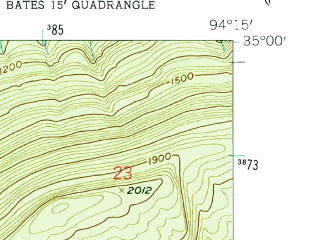Reduced fragment of topographic map en--usgs--024k--069580--(1958)--N035-00-00_W094-22-30--N034-52-30_W094-15-00