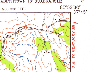Reduced fragment of topographic map en--usgs--024k--069584--(1948)--N037-45-00_W086-00-00--N037-37-30_W085-52-30