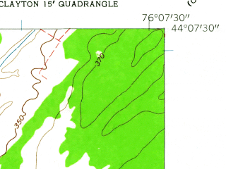 Reduced fragment of topographic map en--usgs--024k--069622--(1958)--N044-07-30_W076-15-00--N044-00-00_W076-07-30; towns and cities Chaumont