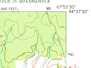 Reduced fragment of topographic map en--usgs--024k--069628--(1948)--N044-37-30_W068-00-00--N044-30-00_W067-52-30