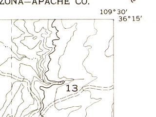 Reduced fragment of topographic map en--usgs--024k--069642--(1955)--N036-15-00_W109-37-30--N036-07-30_W109-30-00; towns and cities Chinle