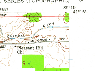 Reduced fragment of topographic map en--usgs--024k--069652--(1957)--N041-15-00_W085-22-30--N041-07-30_W085-15-00; towns and cities Churubusco