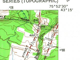 Reduced fragment of topographic map en--usgs--024k--069677--(1957)--N043-15-00_W076-00-00--N043-07-30_W075-52-30; towns and cities Bridgeport, Cleveland