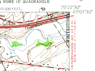 Reduced fragment of topographic map en--usgs--024k--069682--(1955)--N043-07-30_W075-30-00--N043-00-00_W075-22-30; towns and cities Clark Mills, Clinton