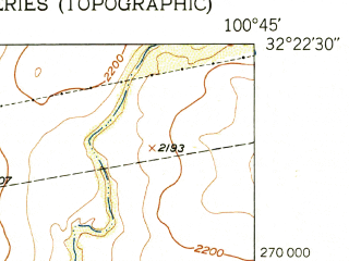 Reduced fragment of topographic map en--usgs--024k--069712--(1950)--N032-22-30_W100-52-30--N032-15-00_W100-45-00 in area of Champion Creek Reservoir