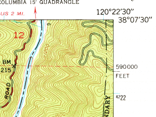 Reduced fragment of topographic map en--usgs--024k--069714--(1948)--N038-07-30_W120-30-00--N038-00-00_W120-22-30; towns and cities Columbia