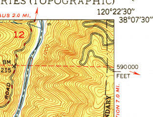 Reduced fragment of topographic map en--usgs--024k--069714--(1949)--N038-07-30_W120-30-00--N038-00-00_W120-22-30; towns and cities Columbia
