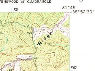 Reduced fragment of topographic map en--usgs--024k--069753--(1960)--N038-52-30_W081-52-30--N038-45-00_W081-45-00