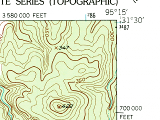 Reduced fragment of topographic map en--usgs--024k--069784--(1950)--N031-30-00_W095-22-30--N031-22-30_W095-15-00