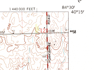 Reduced fragment of topographic map en--usgs--024k--069830--(1961)--N040-15-00_W084-37-30--N040-07-30_W084-30-00