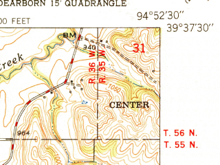 Reduced fragment of topographic map en--usgs--024k--069834--(1951)--N039-37-30_W095-00-00--N039-30-00_W094-52-30; towns and cities De Kalb
