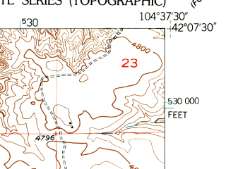 Reduced fragment of topographic map en--usgs--024k--069947--(1951)--N042-07-30_W104-45-00--N042-00-00_W104-37-30