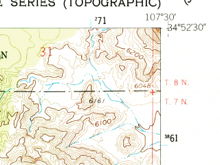 Reduced fragment of topographic map en--usgs--024k--069953--(1961)--N034-52-30_W107-37-30--N034-45-00_W107-30-00