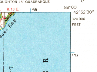 Reduced fragment of topographic map en--usgs--024k--069965--(1961)--N042-52-30_W089-07-30--N042-45-00_W089-00-00; towns and cities Edgerton