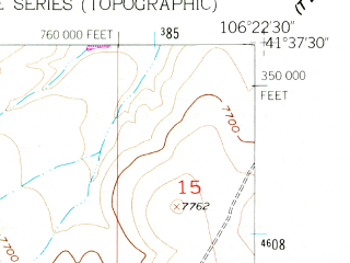 Reduced fragment of topographic map en--usgs--024k--069988--(1955)--N041-37-30_W106-30-00--N041-30-00_W106-22-30