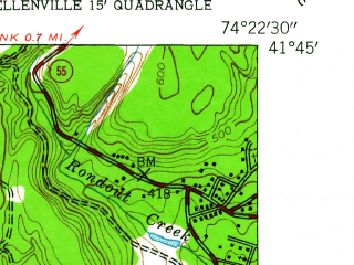 Reduced fragment of topographic map en--usgs--024k--069995--(1942)--N041-45-00_W074-30-00--N041-37-30_W074-22-30; towns and cities Ellenville