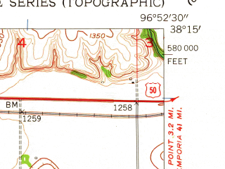 Reduced fragment of topographic map en--usgs--024k--070082--(1957)--N038-15-00_W097-00-00--N038-07-30_W096-52-30; towns and cities Florence