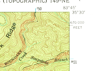 Reduced fragment of topographic map en--usgs--024k--070089--(1961)--N035-30-00_W083-52-30--N035-22-30_W083-45-00