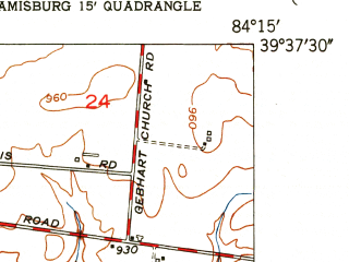 Reduced fragment of topographic map en--usgs--024k--070118--(1951)--N039-37-30_W084-22-30--N039-30-00_W084-15-00; towns and cities Middletown, Franklin, Carlisle