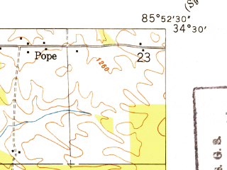 Reduced fragment of topographic map en--usgs--024k--070139--(1949)--N034-30-00_W086-00-00--N034-22-30_W085-52-30; towns and cities Fyffe, Lakeview, Shiloh
