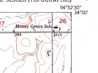 Reduced fragment of topographic map en--usgs--024k--070155--(1951)--N034-00-00_W095-00-00--N033-52-30_W094-52-30; towns and cities Garvin