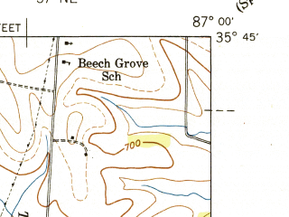 Reduced fragment of topographic map en--usgs--024k--070199--(1941)--N035-45-00_W087-07-30--N035-37-30_W087-00-00
