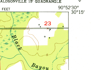 Reduced fragment of topographic map en--usgs--024k--070206--(1953)--N030-15-00_W091-00-00--N030-07-30_W090-52-30; towns and cities Gonzales